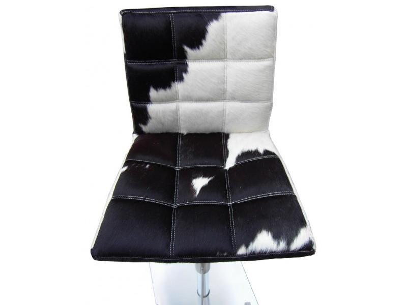 Bild von Stuhl-Design Barstuhl Deco10 - Kuhfell Schwarz/ weiß