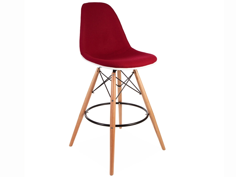 Bild von Stuhl-Design Barstuhl DSB Wollpolsterung - Rot