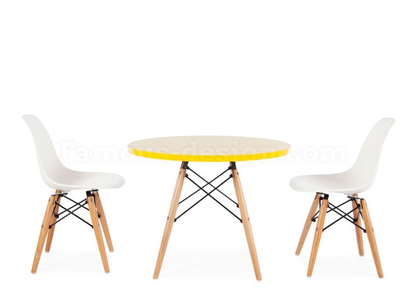 kinder tisch eames gelb. Black Bedroom Furniture Sets. Home Design Ideas
