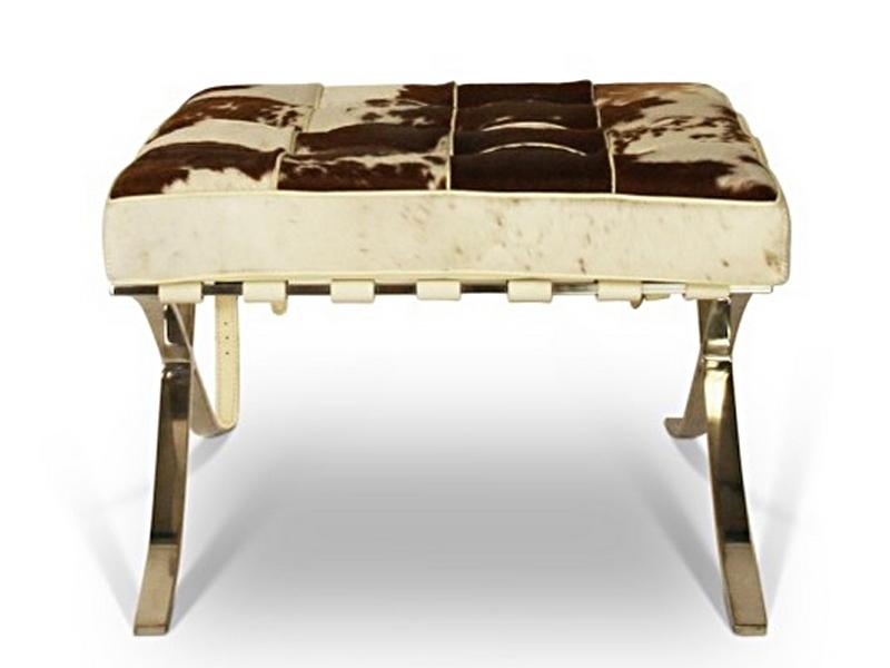 Bild von Stuhl-Design Ottoman Barcelona Pony - Braun & Weiß