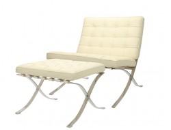 Bild von Stuhl-Design Barcelona Sessel & Ottoman - Cremeweiß