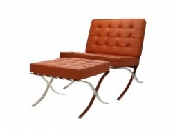Bild von Stuhl-Design Barcelona Sessel und ottoman - Cognac