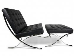 Bild von Stuhl-Design Barcelona Sessel und ottoman - Schwarz