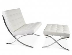 Bild von Stuhl-Design Barcelona Sessel und ottoman - Weiß