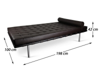 Bild von Stuhl-Design Barcelona Daybed 198 cm - Dunkelbraun