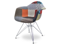 Bild von Stuhl-Design COSY Metall Stuhl Wollpolsterung - Patchwork
