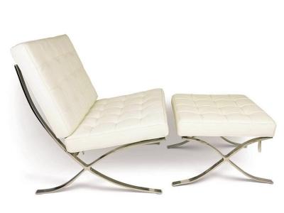 Bild von Stuhl-Design Barcelona Sessel und Ottoman - Cremeweiß