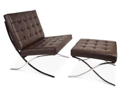 Bild von Stuhl-Design Barcelona Sessel und ottoman - Dunkelbraun