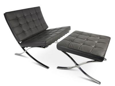 Bild von Stuhl-Design Barcelona Sessel und ottoman - Grau