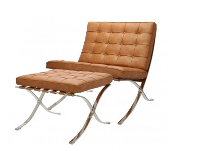Bild von Stuhl-Design Barcelona Sessel und Ottoman - Premium vintage Cognac