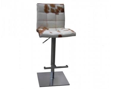 Bild von Stuhl-Design Barstuhl Deco10 - Kuhfell Braun/ weiß
