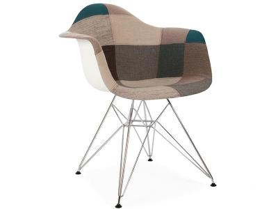 Bild von Stuhl-Design DAR Stuhl Wollpolsterung - Blau Patchwork