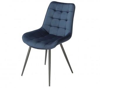 Bild von Stuhl-Design Orville Lisboa Chair - Blaues Samtstoff