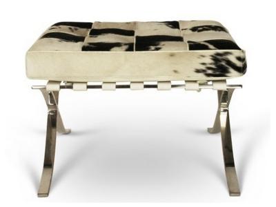 Bild von Stuhl-Design Ottoman Barcelona Pony - Schwarz & Weiß