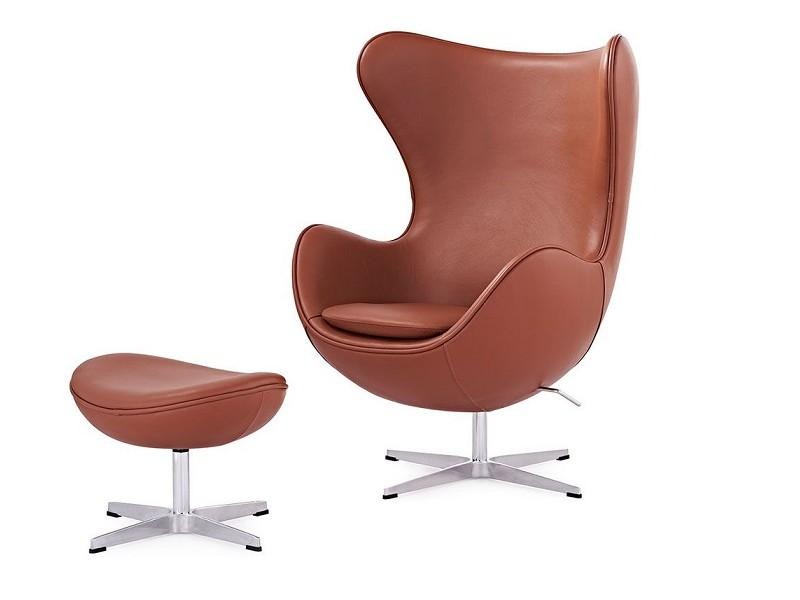 Image du fauteuil design Fauteuil Egg & Ottoman Arne COSYSEN - Cognac