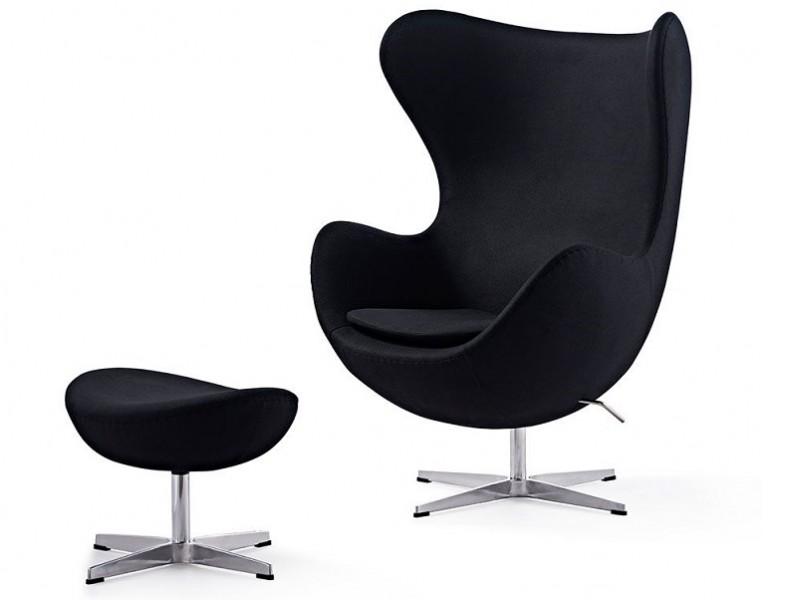 Image du fauteuil design Fauteuil Egg & Ottoman Arne Jacobsen - Noir