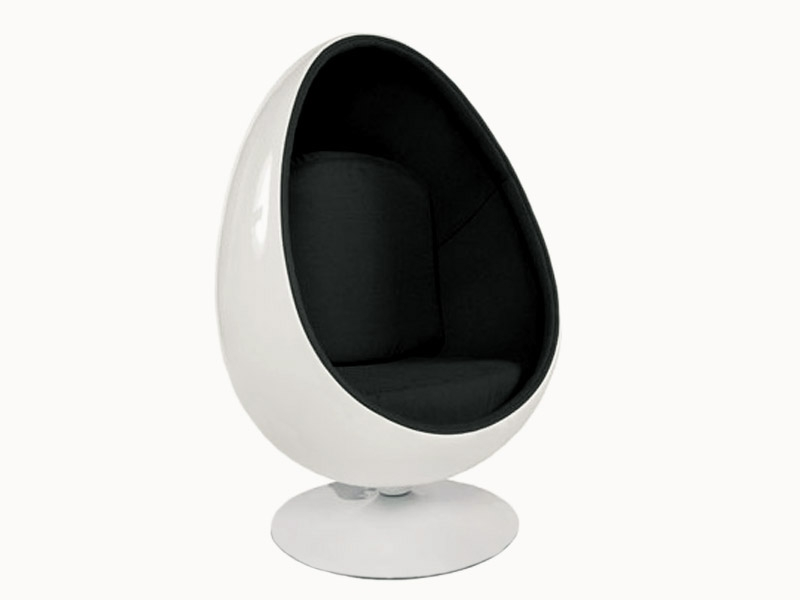 fauteuil egg ovale aarnio noir. Black Bedroom Furniture Sets. Home Design Ideas