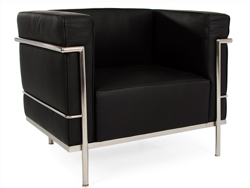 lc2 fauteuil large le corbusier noir. Black Bedroom Furniture Sets. Home Design Ideas