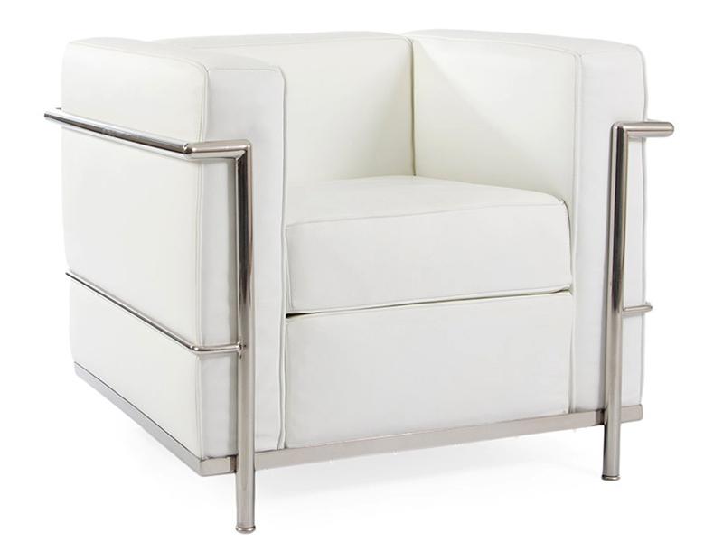 lc2 fauteuil le corbusier blanc. Black Bedroom Furniture Sets. Home Design Ideas