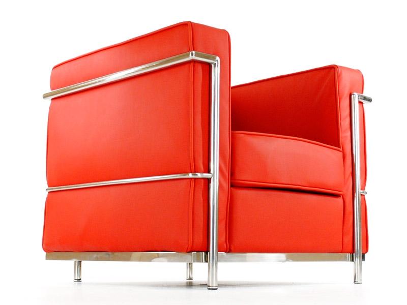 lc2 fauteuil le corbusier rouge. Black Bedroom Furniture Sets. Home Design Ideas