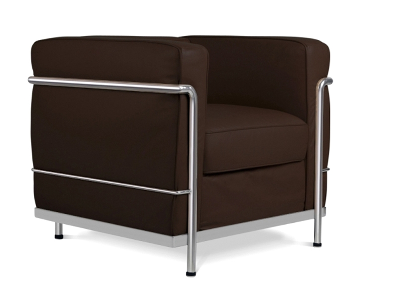 lc2 le corbusier marron fonc. Black Bedroom Furniture Sets. Home Design Ideas
