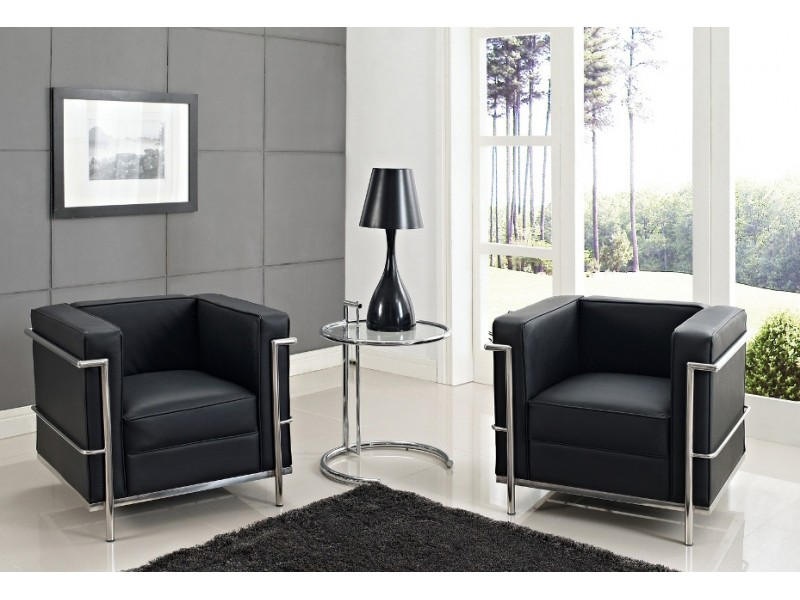 Image du fauteuil design LC2 Poltrona Le Corbusier - Nero