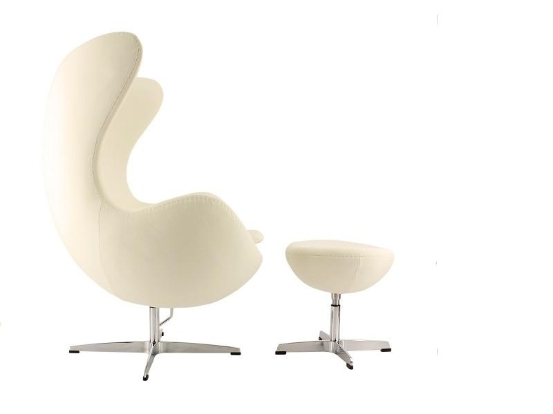 Image du fauteuil design Poltrona Egg AJ - Crema bianca