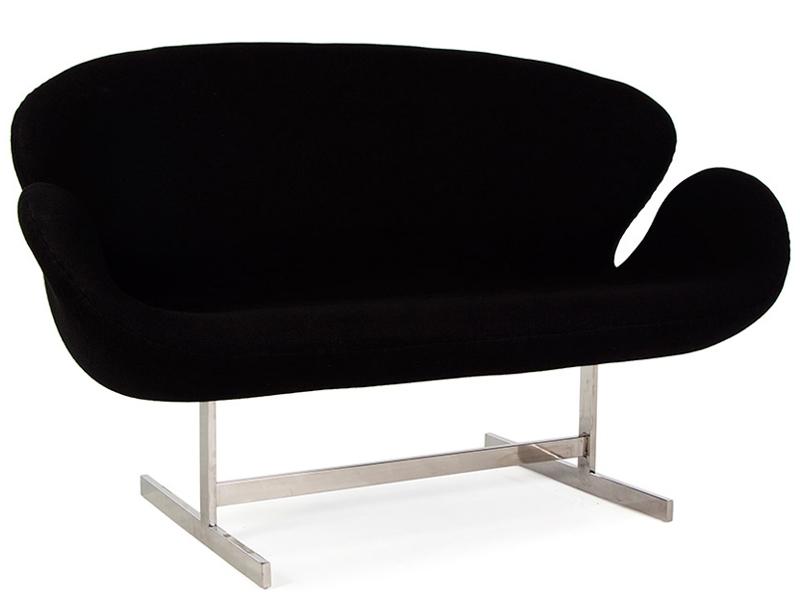 Image du fauteuil design Swan 2 places Arne Jacobsen - Noir