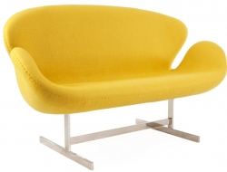 Image du fauteuil design Swan 2 places Arne Jacobsen - Jaune