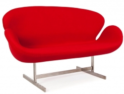 Image du fauteuil design Swan 2 places Arne Jacobsen - Rouge