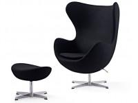 Image du fauteuil design Fauteuil Egg & Ottoman Arne COSYSEN - Noir
