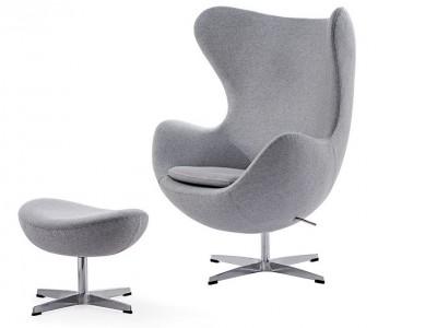 Image du fauteuil design Fauteuil Egg & Ottoman Arne Jacobsen - Gris clair