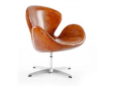 Image du fauteuil design Sedia Swan Arne Jacobsen - Vintage marone