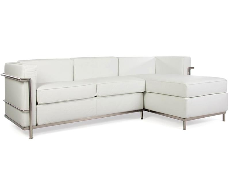Lc2 sof de la esquina le corbusier blanco for Sofa exterior esquina
