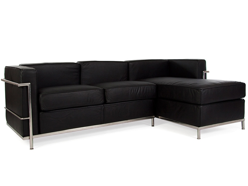 Lc2 sof de la esquina le corbusier negro for Sofa exterior esquina