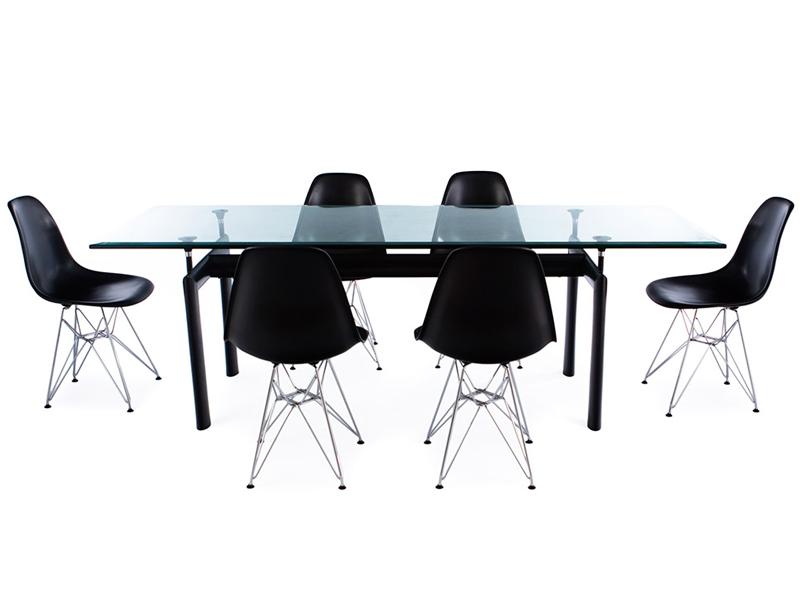 Mesa lc6 le corbusier y 6 sillas for Mesa cristal le corbusier
