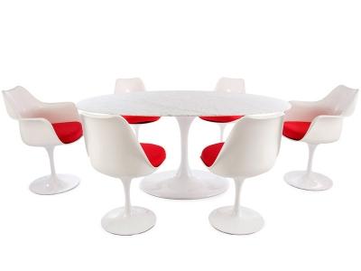 Image du mobilier design Mesa oval Saarinen con 6 sillas