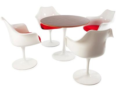 Image du mobilier design Mesa Tulip Saarinen con 4 sillas