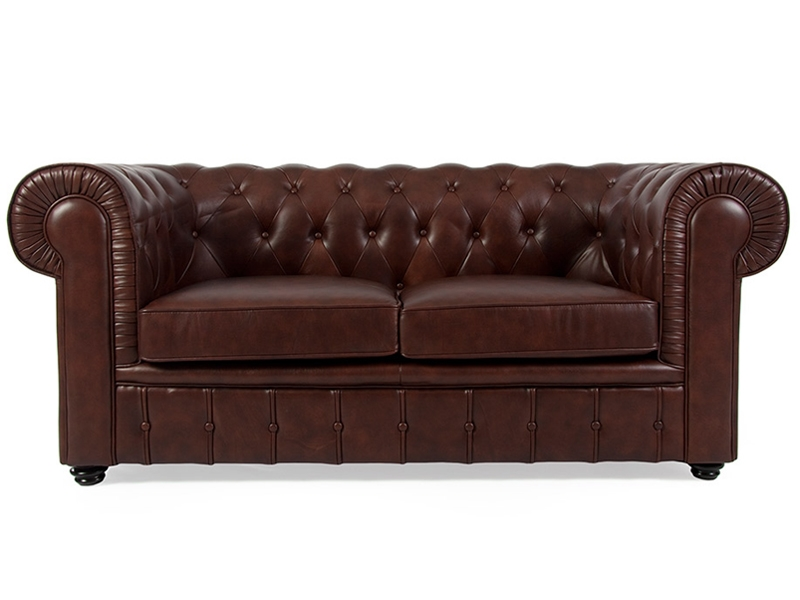 Canap chesterfield 2 places marron for Canape upload