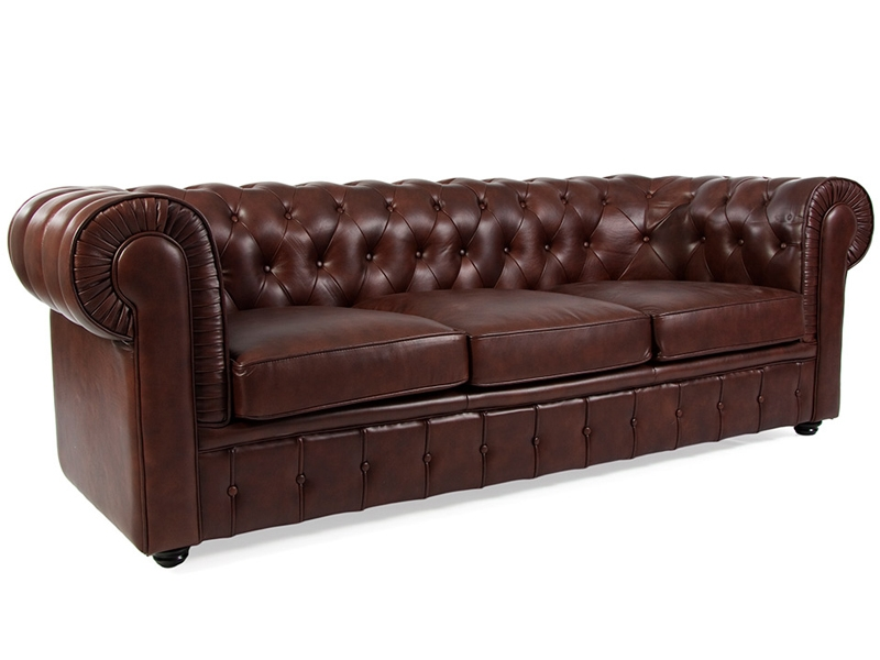 canap chesterfield 3 places marron