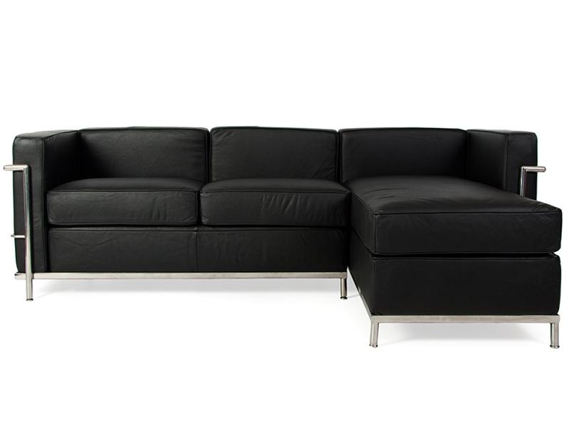lc2 canap d 39 angle le corbusier noir. Black Bedroom Furniture Sets. Home Design Ideas