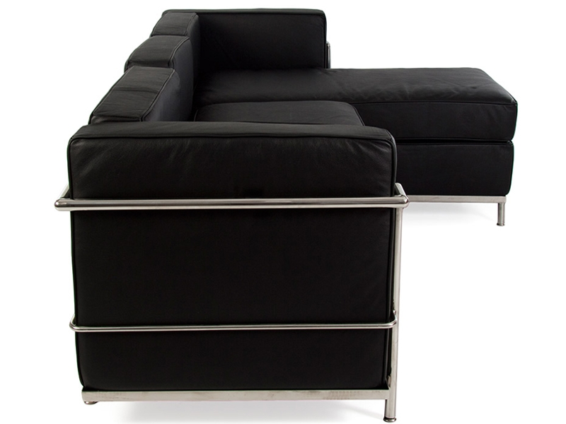 lc2 canap d 39 angle le corbusier noir. Black Bedroom Furniture Sets. Home Design Ideas