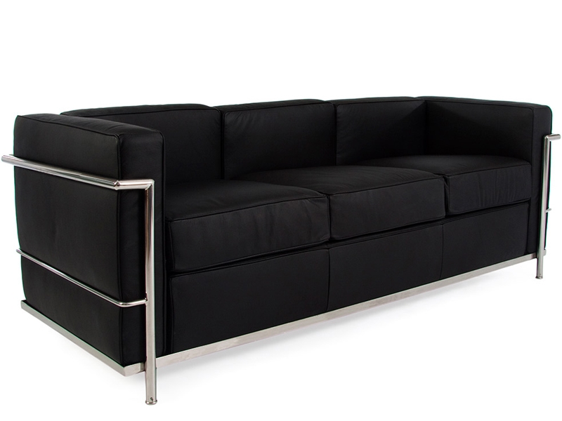 lc2 le corbusier 3 places noir. Black Bedroom Furniture Sets. Home Design Ideas