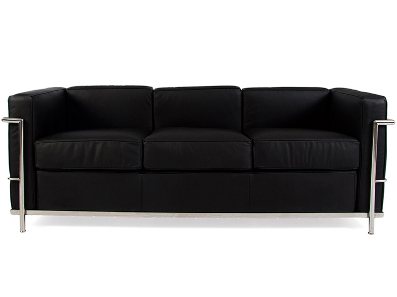lc2 le corbusier 3 posti nero. Black Bedroom Furniture Sets. Home Design Ideas