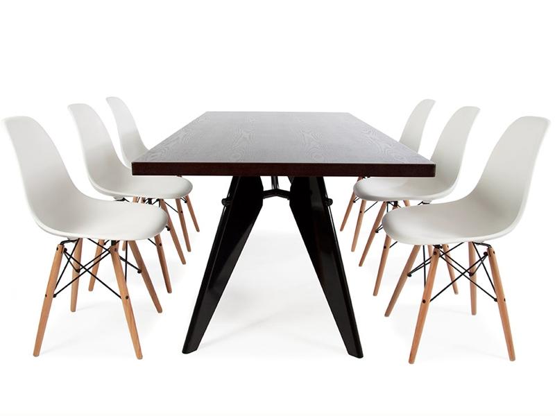 table prouv large et 6 chaises. Black Bedroom Furniture Sets. Home Design Ideas