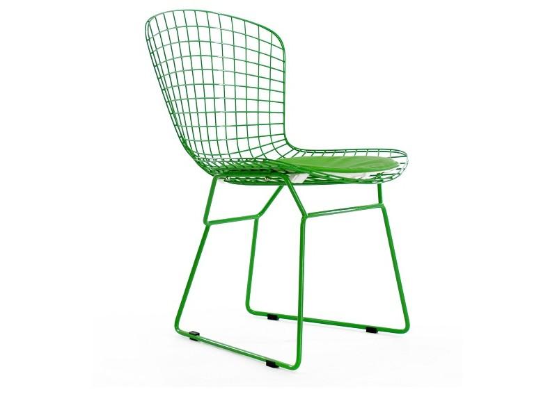 Image de la chaise design Silla Bertoia Wire Side - Verde