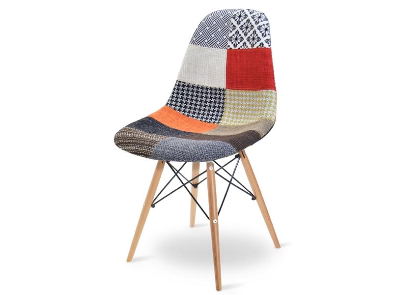 Image de la chaise design Silla Cosy Madera acolchada - Patchwork