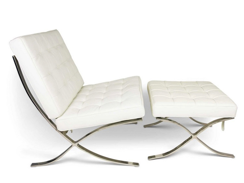 Image de la chaise design Silla y ottoman Barcelona - Blanca