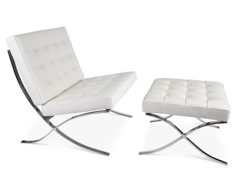 Image de la chaise design Silla y ottoman Barcelona - Blanco