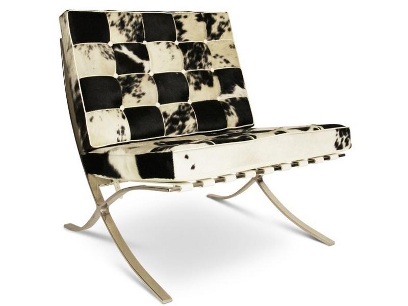 Image de la chaise design Silla y ottoman Barcelona - Negro & blanco